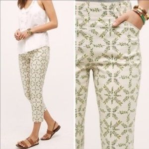 Anthro Cartonnier Charlie Leaf Print Trouser